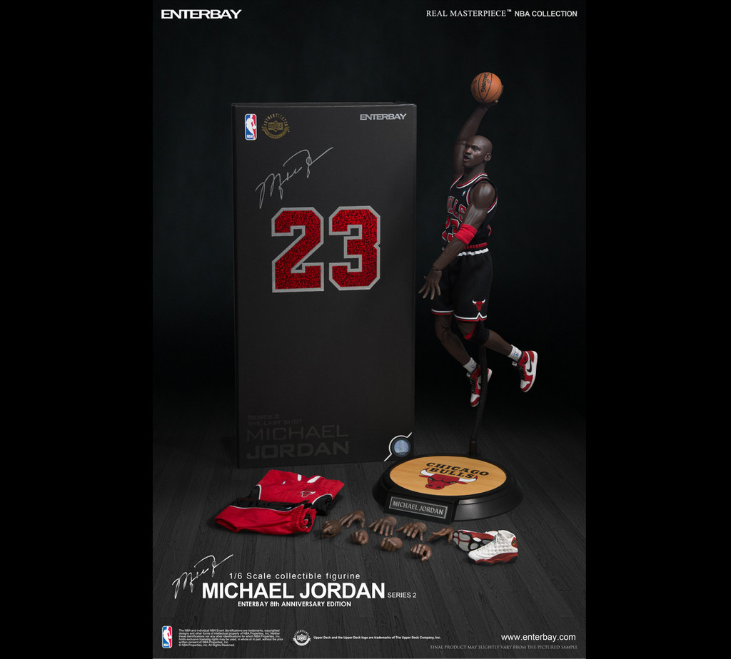pretty nice f2eb1 d57cd (RM-1055) 1:6 ENTERBAY 8th Anniversary Edition - Michael Jordan (Series 2)  #23 Black Jersey Figurine (LIMITED EDITION) by Enterbay